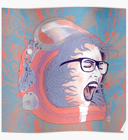 Space Astronaut Girl Poster