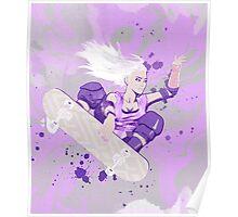 Skate Girl Purple Fly Poster