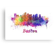 Boston skyline in watercolor Canvas Print