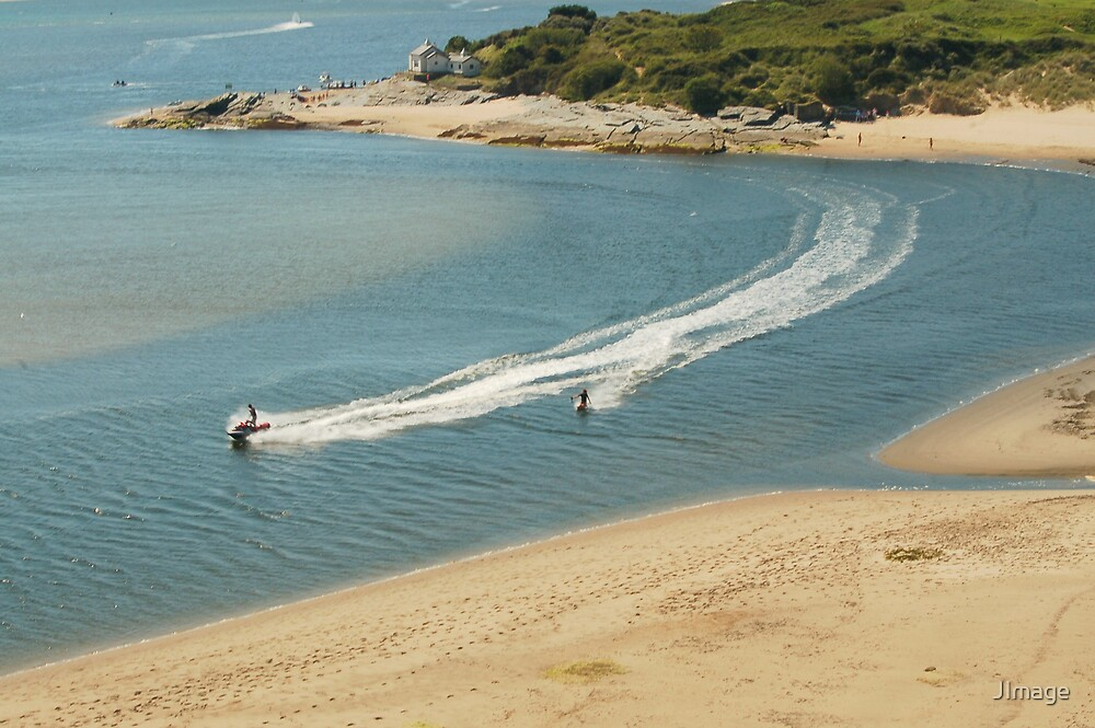 Water skiing at Borth-y-Gest by JImage