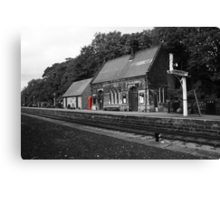 Peak Railway station darley dale red telephone box  Canvas Print