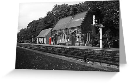 Peak Railway station darley dale red telephone box  by Dave Warren