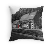 Peak Railway station darley dale red telephone box  Throw Pillow