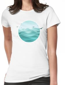 Ocean and Seagulls, Sailing with the Birds Womens Fitted T-Shirt