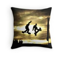 The Thrill of Mountain Boarding Throw Pillow