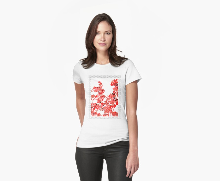 TSHIRT RED FLOWERS by Dominic Melfi