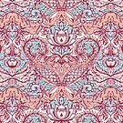 Natural Rhythm - a hand drawn pattern in peach, mint & aqua by micklyn