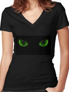 Two green cat eyes Women's Fitted V-Neck T-Shirt