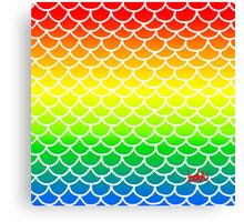 Fish Scales Rainbow Canvas Print