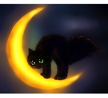 Black cat and moon Photographic Print