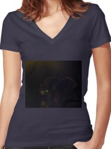 Black cat on a rainy night Women's Fitted V-Neck T-Shirt