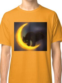 Black cat and moon Classic T-Shirt