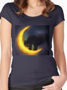 Black cat and moon Women's Fitted Scoop T-Shirt