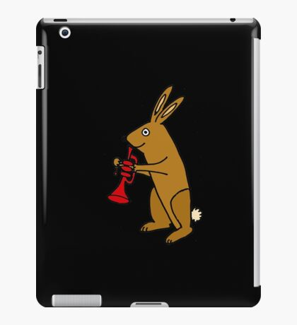 Brown Bunny Rabbit Playing Red Trumpet iPad Case/Skin