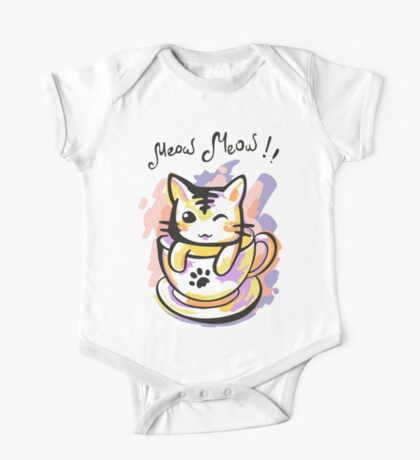 Bright kitten in a cup One Piece - Short Sleeve