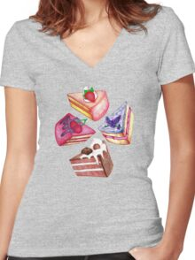 Let Them Eat Cake Women's Fitted V-Neck T-Shirt