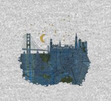 San Francisco skyline old map Kids Clothes