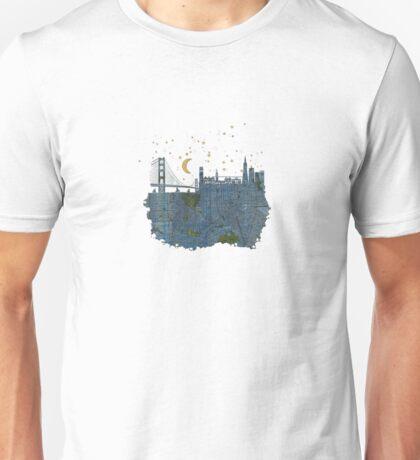 San Francisco skyline old map Unisex T-Shirt