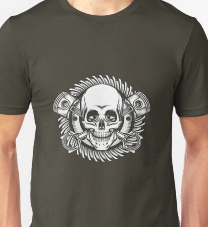 Skull with Pistons Against Motorcycle Gear Emblem Unisex T-Shirt