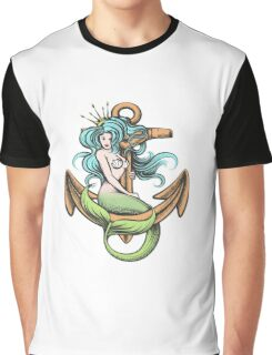 Mermaid with Crown on the Anchor Graphic T-Shirt