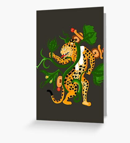 Mayan jaguar playing with a waterlily Greeting Card
