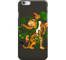 Mayan jaguar playing with a waterlily iPhone Case/Skin
