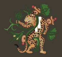 Mayan jaguar playing with a waterlily by Gwendal