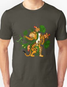 Mayan jaguar playing with a waterlily T-Shirt