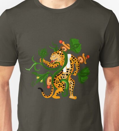 Mayan jaguar playing with a waterlily Unisex T-Shirt