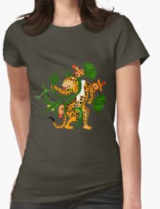 Mayan jaguar playing with a waterlily Womens Fitted T-Shirt
