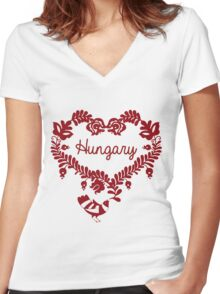 Hungary Women's Fitted V-Neck T-Shirt