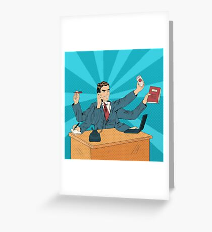 Business Superman Pop Art Banner. Man with Many Hands Doing a Lot of Things.Illustration Greeting Card