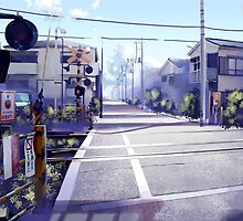 train - anime - manga - nature - city - town by Arle