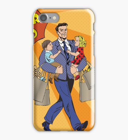 Super Dad with kids on his hands and Shopping Bags. Happy Father iPhone Case/Skin