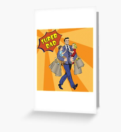 Super Dad with kids on his hands and Shopping Bags. Happy Father Greeting Card