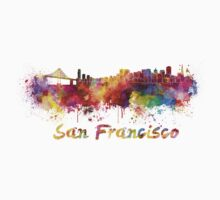 San Francisco skyline in watercolor Kids Clothes