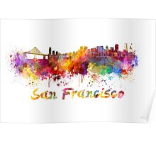 San Francisco skyline in watercolor Poster