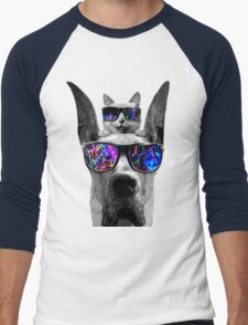 cat sunglasses dog Men's Baseball ¾ T-Shirt