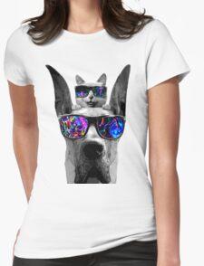 cat sunglasses dog Womens Fitted T-Shirt