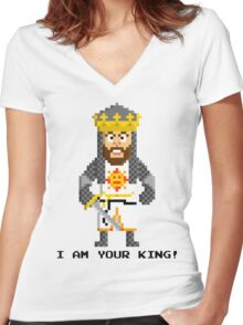King Arthur - Monty Python and the Holy Pixel Women's Fitted V-Neck T-Shirt
