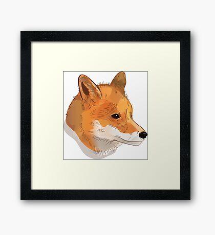Red fox head illustration Framed Print