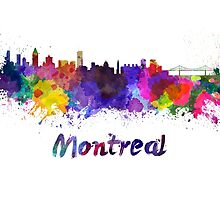 Montreal skyline in watercolor by paulrommer