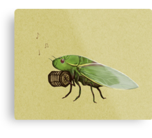 Cicada Playing a Squeezebox Metal Print