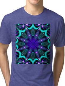 Decorative star in blue, purple and turquoise / green Tri-blend T-Shirt