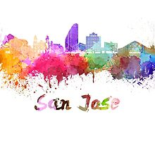 San Jose skyline in watercolor by paulrommer