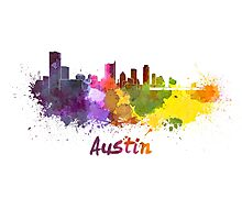 Austin skyline in watercolor Photographic Print