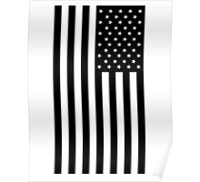 American Flag, in Black, Stars & Stripes, USA, America, Americana, Portrait, Black on White Poster