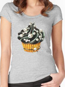 Black Halloween Cupcake Women's Fitted Scoop T-Shirt