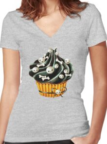 Black Halloween Cupcake Women's Fitted V-Neck T-Shirt