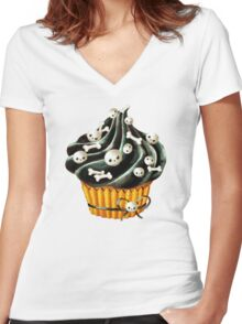 Black Halloween Cupcake Women's Fitted V-Neck T-Shirt